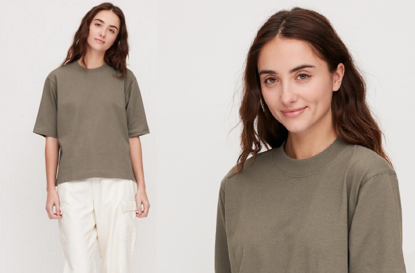 Cotton Relaxed Boxy Crewneck $14.90 by Uniqlo