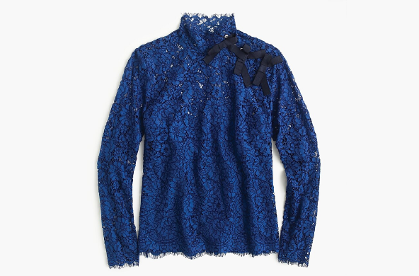 Mockneck Top in Floral Lace, $110 by J.Crew