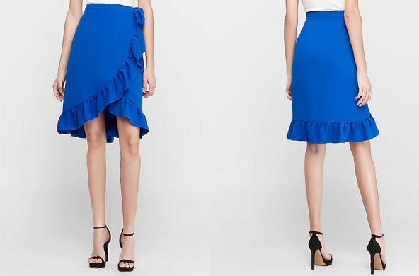 High Waisted Wrap Midi Skirt, $59.99 by Express